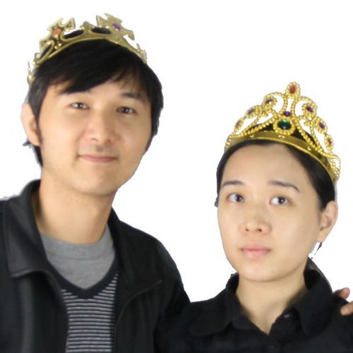 [2pcs Set Party Jeweled Crown for King and Queen (Christmas, Count-down, Easter, Birthday Party) (Gold King &] (Crowns For Queens)