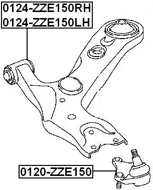 48068-02130 Febest Oem Toyota Right Front Arm