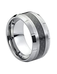 10mm Black Carbon Fiber Inlay Grooved Edge Tungsten Carbide Wedding Band