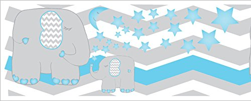 Mural Elephant Wood (Blue Stars and Elephant Border Wall Decals/Chevron Border with Blue Moon and Stars Nursery Decor (Blue Elephant Border))