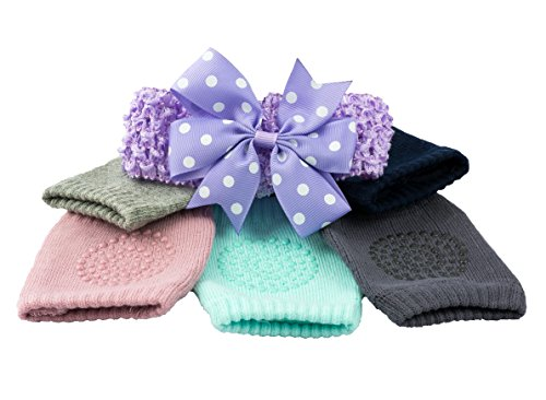 Soft Cotton Baby Leg Warmers & Knee Pads with Stylish Headband by Aspen Lane Products. Anti Slip, Multi Color, 5 Pair Pack and Colorful Headband Combination. Baby Crawling Anti Slip Infant Socks