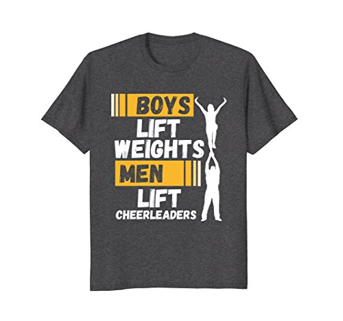 Mens Boys Lift Weights Men Lift Cheerleaders T-Shirt Small Dark Heather - Cheerleader Dark T-shirt