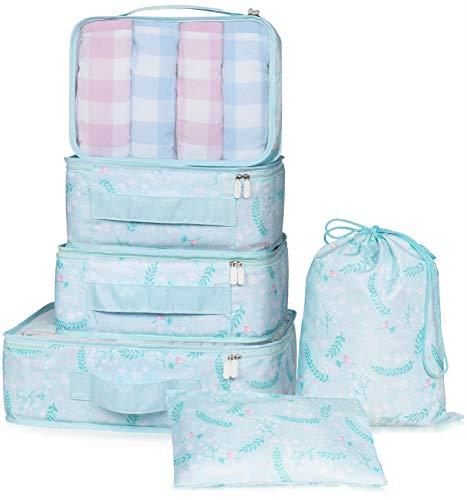 VAGREEZ Packing Cubes 6 Pcs Travel Luggage Packing Organizers Set with Laundry ()