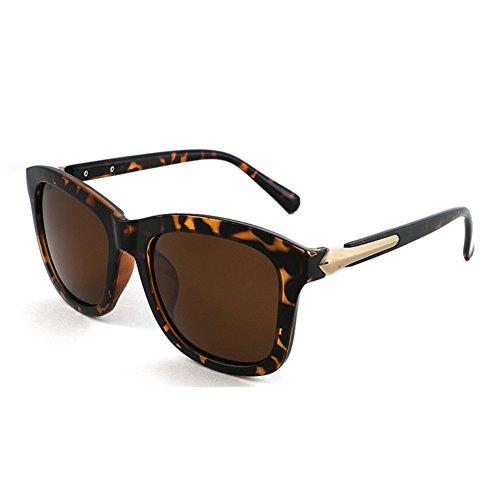 Protección Cuadrada Sra Luz UV Negro UVA Anti 100 Polarizada de Color Marrón Caja Hombres WYYY Decoración Retro sol Clásico Protección gafas Solar 8PwqF