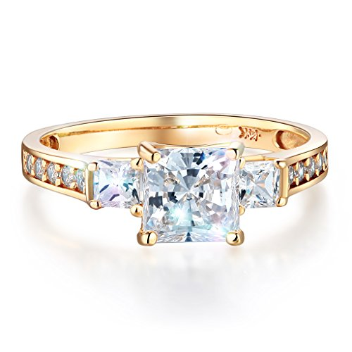 Wellingsale Ladies Solid 14k Yellow Gold Polished CZ Cubic Zirconia Princess Cut Three 3 Stone Engagement Ring - Size 4.5