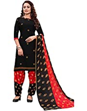 GJ Fashion Indian Panjabi Style Cotton Fabric Regular Wear Patiala Churidar Salwar Suit with Multi Colour Dupatta for Women