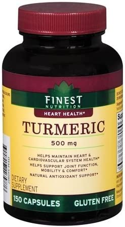 Finest Nutrition – Turmeric – Heart Health – 500 Mg – 150 Caplets