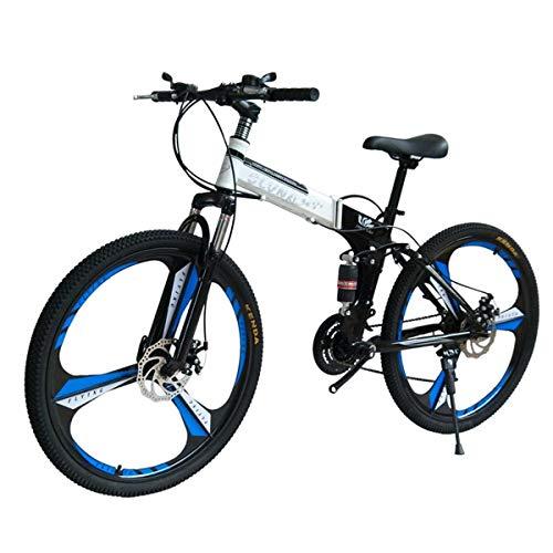 Dapang Mountain Bike 27 Speed Steel Frame 26 Inches 3-Spoke Wheels Dual Suspension Folding Bike Blackwhite,16,27speed