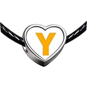 Chicforest Silver Plated Yellow Letter Y Photo Heart Charm Beads Fits Pandora Chamilia Biagi Charm Bracelet