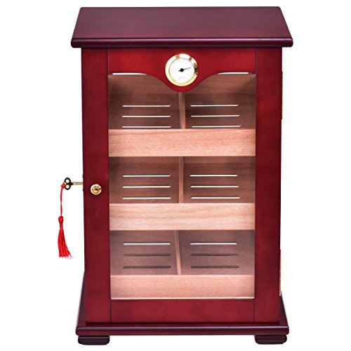 Giantex Countertop Cigar Humidor Cabinet Tempered Glass Lockable w/Humidifiers Hygrometer 150 Cigars by Giantex (Image #3)