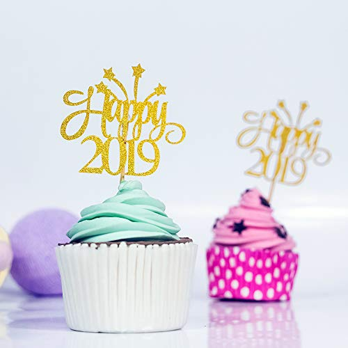 KAZIPA 50PC 2019 Cupcake Toppers, Happy 2019 Cupcake Picks, Gold Glitter, Cake Decoration New Year Party Decoration ()