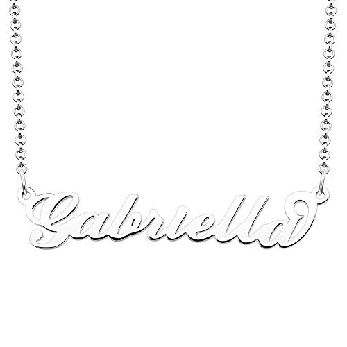 JewelryJo 925 Sterling Silver Personal Name Necklace Semi-Custom Made Customized Personalized Gift for Gabriella ()
