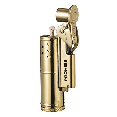 (Solid Brass Antique Style Flint Wheel Oil Petrol Metal Cigarette Lighter (Gold))