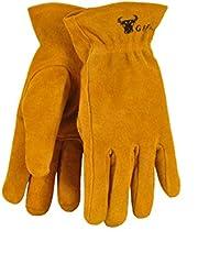 G & F JustForKids Kids Genuine Leather Work Gloves, Kids Garden Gloves