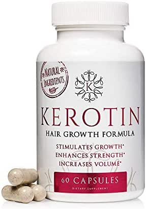Kerotin Hair Growth Vitamins for Natural Longer, Stronger, Healthier Hair - Hair Loss Supplement Enriched with Biotin, Folic Acid, Saw Palmetto - Hair Vitamins to Grow Thick Hair - 60 Pills (1)
