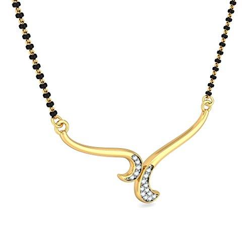 Or jaune 14K 0,06CT TW White-diamond (IJ   SI) Mangalsutra