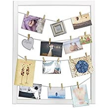 Reimagine Hanging Photo Display- Wood Wall Picture Frame Collage Board for Hanging Prints, Instax, Polaroid, Holiday Cards, Artwork- Display 2 Ways- Adjustable String, 40 Gold Clothespin Clips-White