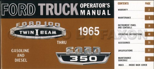 Pickup Brake Ford F100 (1965 Ford F100 F250 F350 Pickup Truck Owner's Manual Reprint)