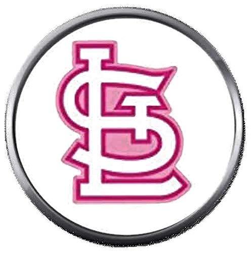 (Pink STL St Louis Cardinals MLB Baseball Logo 18MM - 20MM Snap Jewelry Charm)