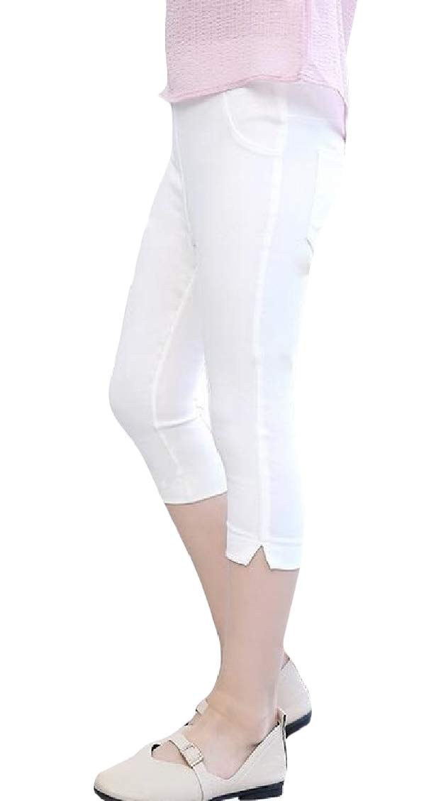 pipigo Girl Solid Color Capri Pants Summer Vogue Slim Fit Thin Legging White 4T