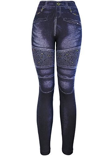 KMystic Women's Denim Print Fake Jeans Leggings (Striped Dot)