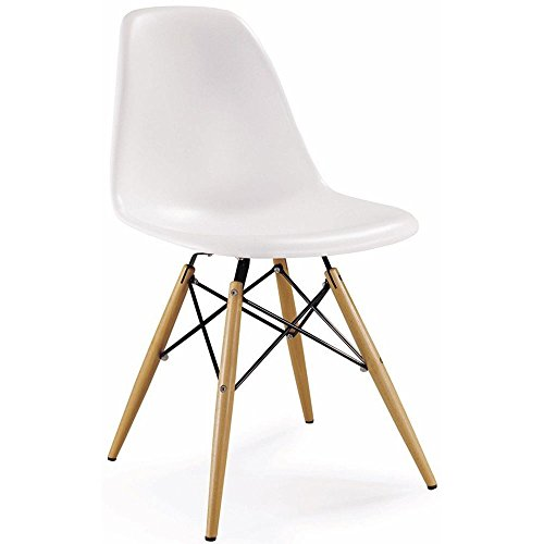 Amazoncom 2xhome White Eames Style Side Chair Natural Wood