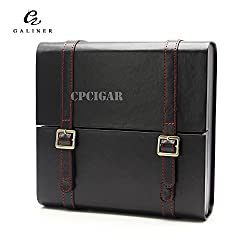 GALINER 15CT Portable Black Spanish Cedar Wood Lined Wooden Leather Cigar  Humidor Business Briefcase Travel Cigars ...
