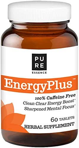 Pure Essence Labs Energy Plus, Caffeine Free, All Natural Herbal Energy and Focus Supplement, 60 Tablets