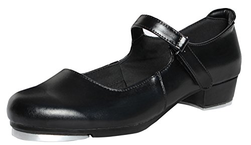 NLeahershoe Slide Buckle Leather Tap Shoes Dancing Shoes for Girls(Toddler/Little Kid/Big Kid (10.5 Kid) Black