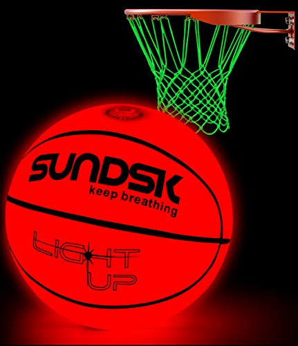 SCIONE Light Up Basketball,LED Glow in The Dark Outdoor Basketball Official Size & WeightNight Basketball Sports for Boys