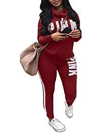 Womens Casual Sport Striped Sweatpant Two Piece Tracksuit Sweatsuits Sets Outfits