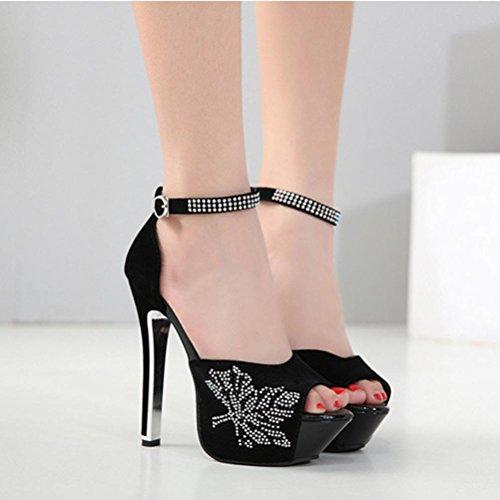 Chaussures Bow Dames Sandalssummer Imperméable XIE Talon Forme Bouche hauts Talons Soirée de Fine Robe Plate Tie 35 Seules Poissons Dentelle Chaussures SFSqxAC
