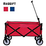 Maggift Collapsible Folding Outdoor Utility Wagon Cart (Red)