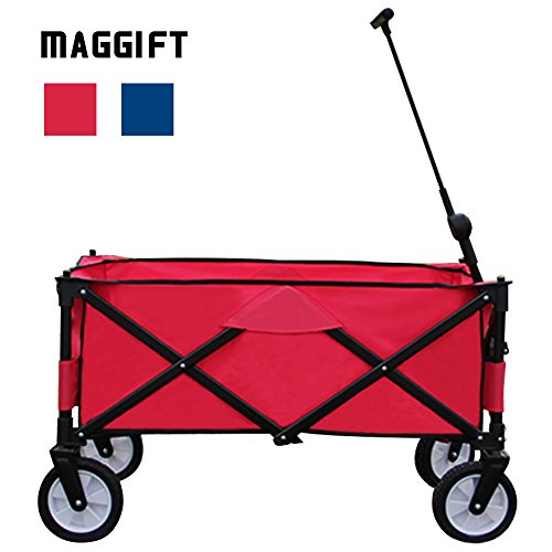 Maggift Collapsible Folding Outdoor Utility Wagon Cart (Red) by MAGGIFT