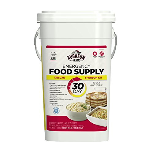 - Augason Farms Deluxe Emergency 30-Day Food Supply (1 Person), 200 Servings, 36,600 Calories, Net Weight 20 lbs. 7 oz.