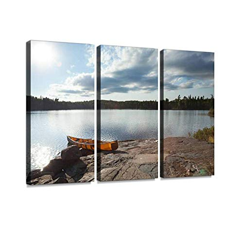 Canoe on Rocky Shore of Boundary Waters Lake Near Sundown Print On Canvas Wall Artwork Modern Photography Home Decor Unique Pattern Stretched and Framed 3 Piece