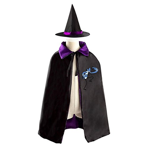 Regular Show Mordecai And Rigby Costumes (Regular-Show Kid Halloween Cloak Vampire Cape Witch Hat Cosplay)