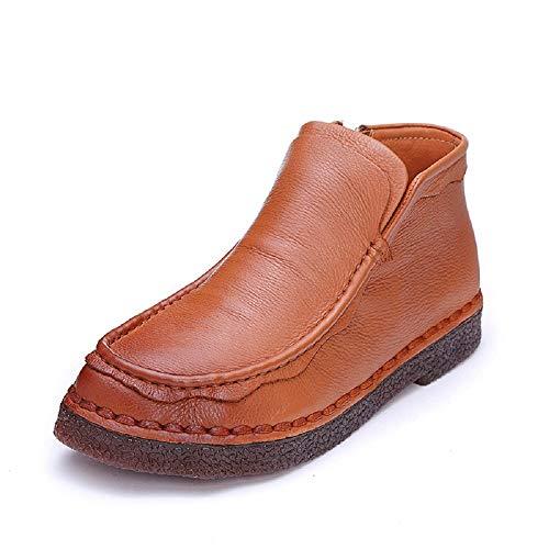 Cuir 40 plates Chaussures Taille plates Vintage Femmes Couleur Jaune Fuxitoggo Zipper Boots Eu Jaune qwtS7a1