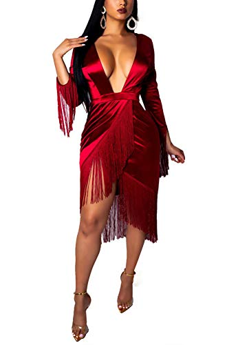 Chicmay Women Tassel Dress Plunge V Neck Irregular Hem Solid Color Long Sleeve Party Club Midi Dress Prom Gowns Red