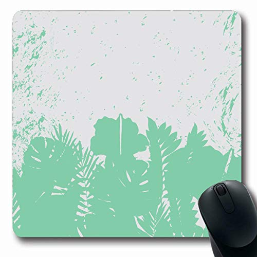 Ahawoso Mousepad Oblong 7.9x9.8 Inches Orange Green Tropical Eco Floral Border Nature Club Hawaii Leaf Mexican African Anniversary Design Office Computer Laptop Notebook Mouse Pad,Non-Slip Rubber