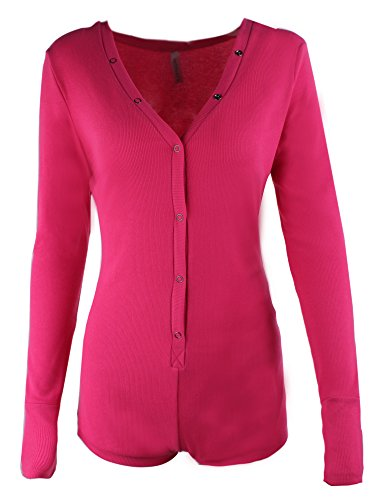 Moxeay Sexy V-neck One Piece Bodysuit Long Sleeve Bodycon Rompers (Medium, Rose Red)