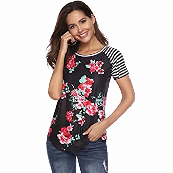 JINIU Women's T-Short Sleeve Floral Print Blouse Clothes Comfy Casual Tops for Ladies-S-Black