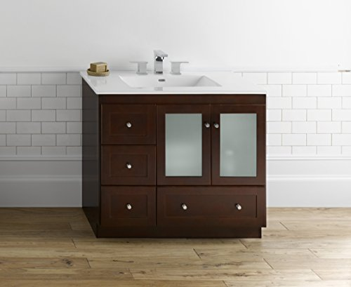 (RONBOW Shaker 36 Inch Bathroom Vanity Base Cabinet with Soft Close Frosted Glass Door, Right Cabinet Drawer and Adjustable Shelf in Dark Cherry 081936-1R-H01)