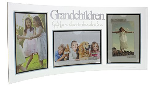 Modern Curved 'Grandchildren' Glass Triple Picture Frame By Haysom Interiors