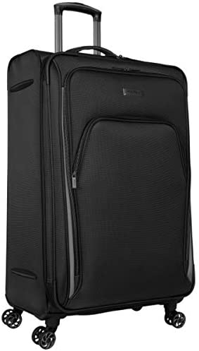 Kenneth Cole Reaction Cloud City 28 Lightweight Softside Expandable 8-Wheel Spinner Checked Travel Luggage, Black