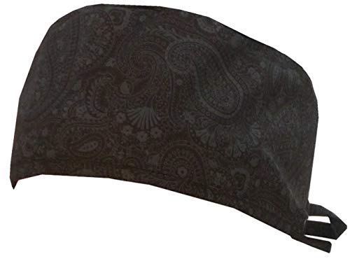 Mens and Womens Surgical Scrub Cap - Grey Paisley on Black