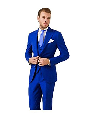 AK Beauty Men's 3 Piece Two Button Royal Blue Suit (Jacket+Pants+Vest) S