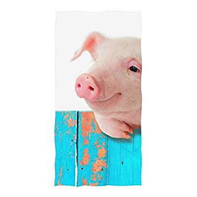 """LORVIES Funny Pig On A Fence Beach Towel 74"""" x 37"""", Lightweight Absorbent Fast Dry Oversized Pool Towels Blanket Mat - Perfect for Sports Bath Swim Camping Yoga Travel"""