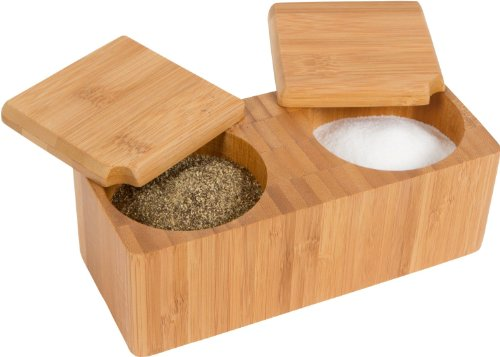 "Trademark Innovations 7.1"" L x 3.1"" W Bamboo Salt and Pepper Box Kitchen Accessory"