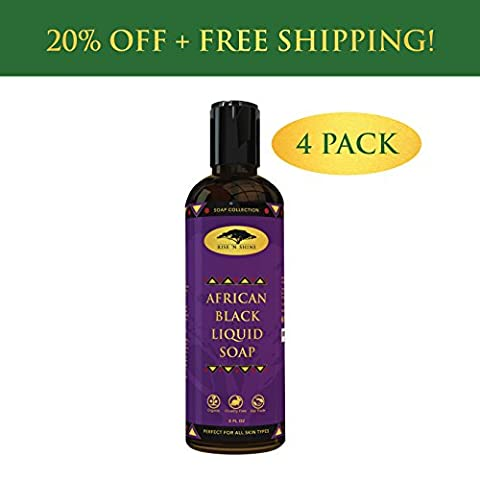 (4 Pack) African Black Soap Liquid Body Wash with Coconut Oil and Shea Butter - Great Shampoo and Face Wash - Helps Clear Dry Skin, Acne, Eczema, Psoriasis - Organic Liquid Black Soap from - Therapy Bath 1 Lb Powder